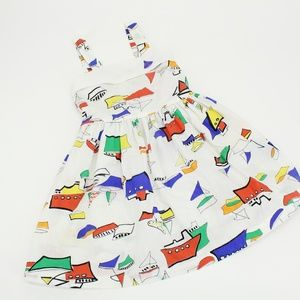 Vintage Colorful Sail Boat Kid's Dress